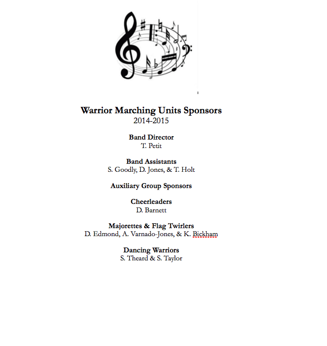Marching Units Sponsors 2014-15