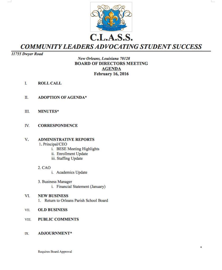 Class Agenda Feb 16,2016